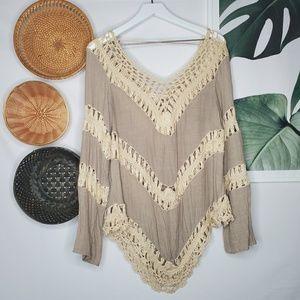 Umgee Boho Lace Crochet Trim Tunic Colorblock